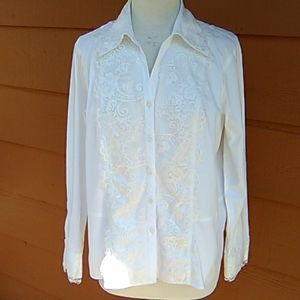 Coldwater Creek White Cotton with Lace Blouse
